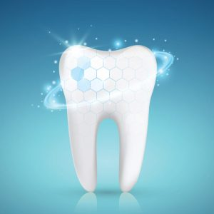 digital image of a tooth in front of a blue gradient background sparkling with a protective shield